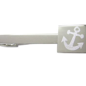 Silver Toned Etched Leaning Nautical Anchor Square Tie Clip