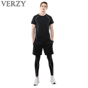 Sweat Suit 3 Pieces Men Sportswear 2018 New Fitness Gym Jumpsuit Sports Set Running Clothes Soft Solid Black Yoga Suit Man Sport