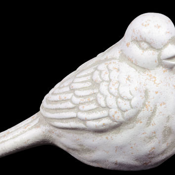 Charming Ceramic Bird Figurine In Green & White Finish