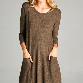 ribbed swing dress with pockets