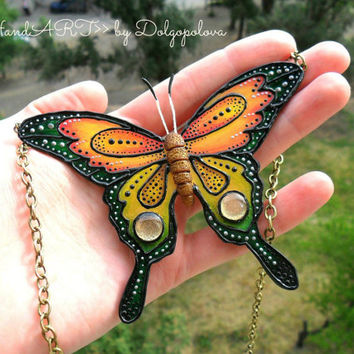 Colorful necklace with butterfly - Handmade - Jewelry - Best gift  - Nature