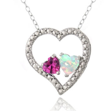 Sterling Silver Diamond Accent Created Pink Sapphire & White Opal 3 Floating Heart Necklace