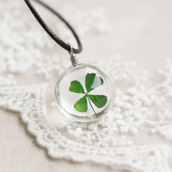 Lucky You - Real Four Leaf Clover Necklace