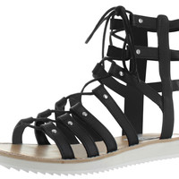 Steve Madden Maybin Womens Gladiator Flat Sandals