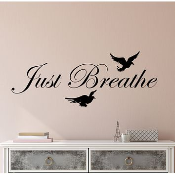 Vinyl Wall Decal Just breathe Quote Inspirational Words Motivational Yoga Center Meditation Room Stickers (4283ig)