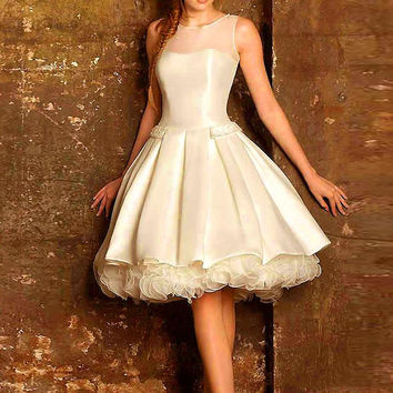 New 2016 Satin A-Line Short Cocktail Dresses Elegant Tulle Ruched Knee-Length Beaded Special Occasion Homecoming Gowns Custom