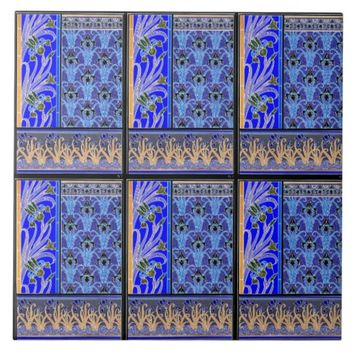 Art nouveau black and purple iris ceramic tile
