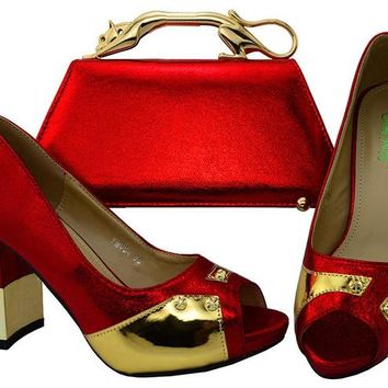 """CAPPUTINE"" New Arrival Color Red Italian Heel with Matching Bags"