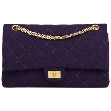 2013 Chanel Violet Quilted Jersey Fabric 2.55 Reissue 226 Double Flap Bag