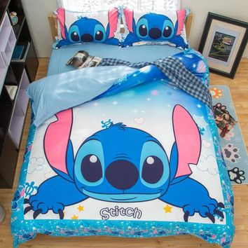 Cool Stitch Printed Bedding Set Cartoon Bedspread Single Twin Full Queen King Size Bedclothes Children's Boy Bedroom Decor Blue ColorAT_93_12