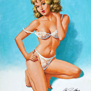 Pin-Up Girl Wall Decal Poster Sticker - Pin-Up in Lace, 1993 - Blonde Pinup Pin Up
