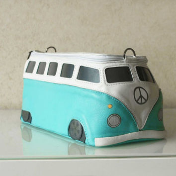 VW Hippie Bus Bag Turquoise Small Bus Leather Purse