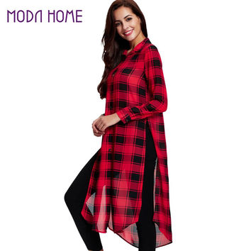 Women Plaid Long Blouse Split High Low Hem Button Camisas Femininas Turn-Down Collar Long Sleeve Casual Loose Shirts Red SM6