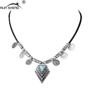Newest Fashion Black Leather Choker Necklace with Vintage Gold silver coin turquoise pendant For Women Collier Jewelry