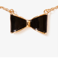 Lacquered Bow Charm Necklace