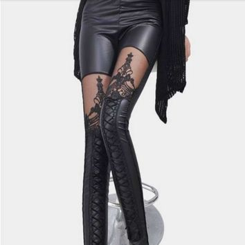 Embroidered Lace Up Leather Leggings