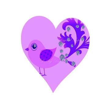 Printable Lilac Love Bird,  Heart Wall Art, Stickers, Journal Cover, Card Making, Decoupage, Weddings, Book Covers, Etsy Supplies