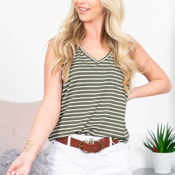 Brittney Striped Pocket Tank | Olive