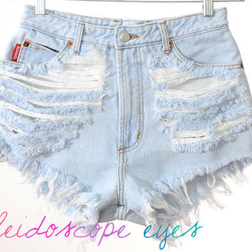 Vintage BONGO pale blue DESTROYED High Waist Trashed Denim Cut Off Shorts S