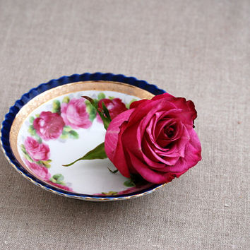 Set of 6 Small Porcelain Bowls Gold Cobalt Blue and Pink Rose by IPF Germany / Antique Ilmenau Porcelain Factory Bowls