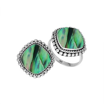 AR-6203-AB-6'' Sterling Silver Ring With Abalone Shell