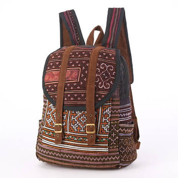 Bohemian, Boho Backpack Ethnic Cross stitch Gypsy Hippie Rucksack