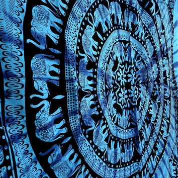 Mandala Elephant Tapestry Hippie Wall Hanging Blue Mandala Bedspread Cover Throw Indian Gypsy Boho Ethnic Home Wall Decor