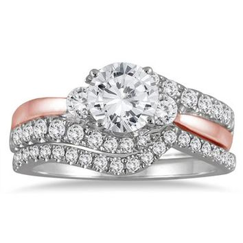 1 1/2 Carat Diamond Bridal Set in Two Toned 14K Pink and White Gold