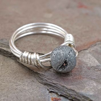 Silver Druzy Wire Wrapped Ring Aromatherapy Ring Jewelry