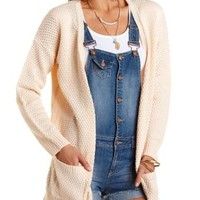 Peach Oversized Open Cardigan Sweater by Charlotte Russe