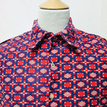 Vintage 80s LOTUS FLOWER Beautiful Well Made Unique Pattern Shirt 2XL