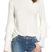 BP. Ruffle Sleeve Ribbed Sweater | Nordstrom