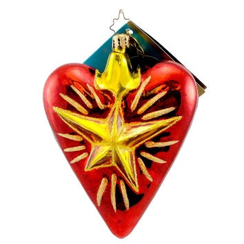 Christopher Radko A HERO'S HEART Blown Glass Ornament Star Patriotic