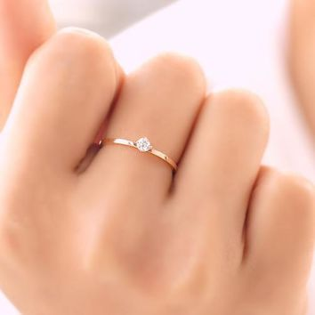 Valentines Gift Rose Gold Plated Titanium Steel 2mm Fine Four Prong Setting Cheap Cubic Zircon Wedding Rings Size 3-10 availabe