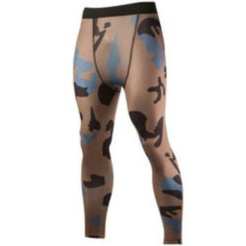Camo Print Air Permeable Skintight Elastic Waist Fitness Pants For Men