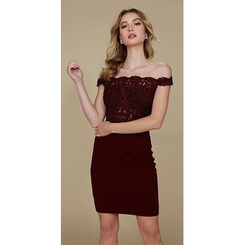 Cocktail Homecoming Dress Wine the Shoulder Strap