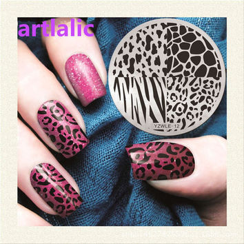 1pc Stamping Plate Lace Leopard Zebra Print Animals Nail Template Beauty Polish Transfer DIY Manicure Tools E12