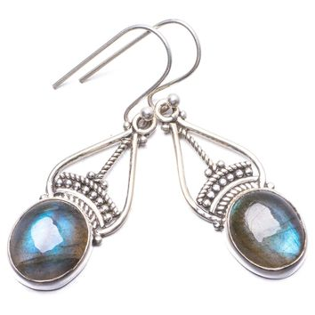 "Natural Blue Fire Labradorite Handmade Unique 925 Sterling Silver Earrings 1.5"" Y3357"