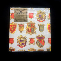 Birthday Heritage Wrapping Paper - Norcross - Grayish Background - 2 Sheet Flat Wrap - Various Coats if Arms - Best Wishes - Vintage 1970