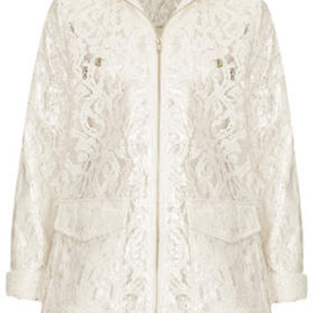 Cream Lace Plastic Mac - Cream