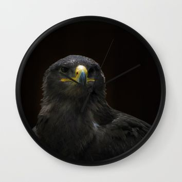 Steppe Eagle Wall Clock by Mixed Imagery