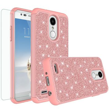LG Aristo 2 Plus Case, Aristo 2, LV3 2018 Case, LG Tribute Dynasty Glitter Bling Heavy Duty Shock Proof Hybrid Case with [HD Screen Protector] Dual Layer Protective Phone Case Cover for LG Aristo 2 - Rose Gold