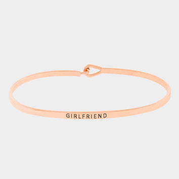 """Girlfriend"" Skinny Mantra Cuff Bracelet"