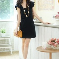 Delicate U Neck Ruffle Sleeve Black Womens Dresses : Yoco-fashion.com