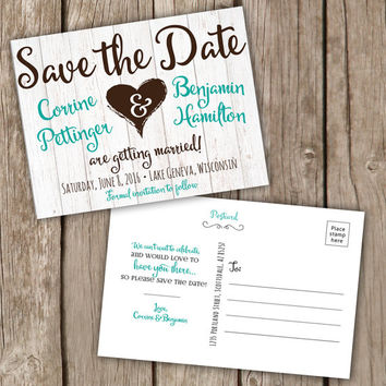 Save the Date postcard - fun and rustic - Save the Date Cards