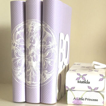 Decorative books - Lavender books - Purple - Medallion - Custom book covers - Interior Design - Book dust jacket - Decorative cover- Books