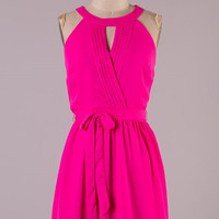 The Night is Young Halter Dress - Pink