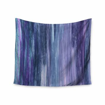 "Ebi Emporium ""Waterfall Blur, Purple Blue"" Purple Blue Abstract Stripes Painting Mixed Media Wall Tapestry"