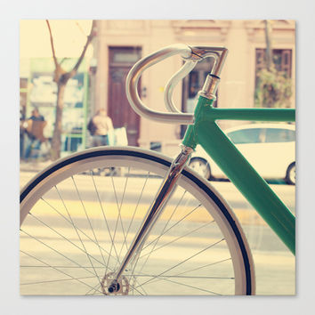 Geen Mint Bicycle in the City (Retro - Vintage Photography) Stretched Canvas by Andrea Caroline