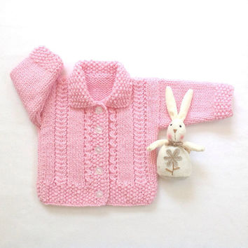 Pink baby cardigan - 0 to 6 months - Infant knitwear - Baby clothing - Baby shower gift